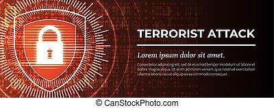 terrorist, moderne, achtergrond., attack., vector., rood