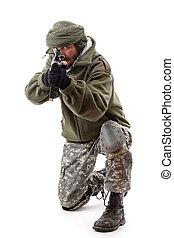 Terrorist pointing gun