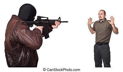 terrorist, stående, och, gisslan