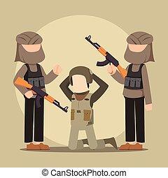 terrorist taking soldier