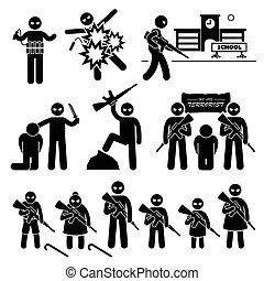 A set of human pictogram representing terrorist and terrorism acts. They are killers and murderers that create fear to the public.