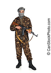 Terrorist with automatic gun on white background - Terrorist...