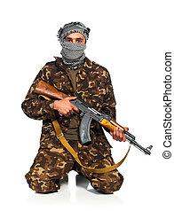 Terrorist with automatic gun on white background - Terrorist...