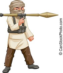 Terrorist with bazooka and bullet pack illustration