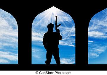 terrorista, arma de fuego, silueta