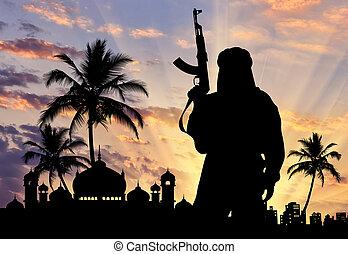 terrorista, armas, silueta