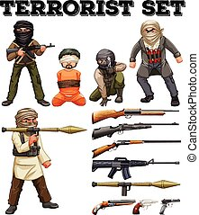 Terrorists and weapon set