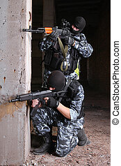 Terrorists in black masks with guns - Soldiers or terrorists...