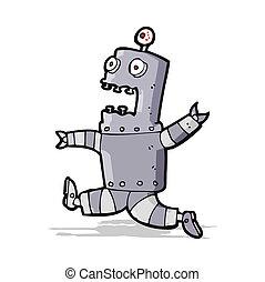 terrorizzato, robot, cartone animato