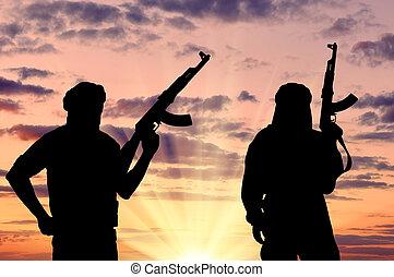 terroryści, dwa, sylwetka