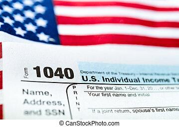 terugkeren, vorm, v.s., belasten inkomen, 1040.