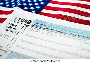 terugkeren, vorm, v.s., belasting, individu, inkomen, 1040.