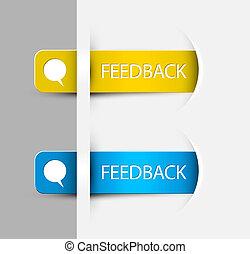terugkoppeling, etiketten, /, stickers, op de rand, van, de,...