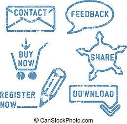 terugkoppeling, kopen, eenvoudig, registreren, aandeel, postzegels, vector, downloaden, contact