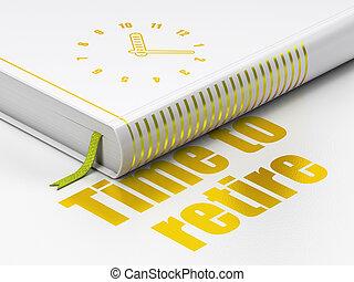 terugtrekken, klok, boek, achtergrond, tijd, witte , concept: