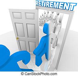 terugtrekken, mensen, door, het schrijden, deuropening, pensioen