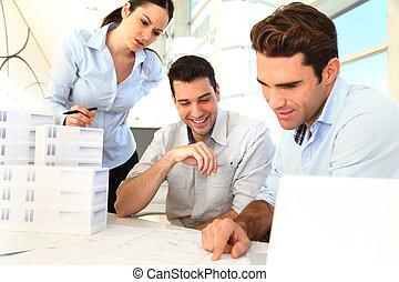 terv, építész, dolgozó, befog
