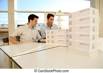 terv, építész, fiatal, dolgozó