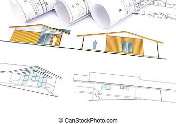 terv, épület, új