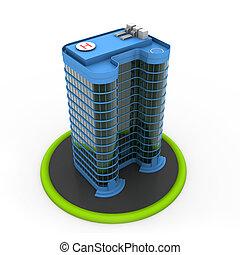 terv, épület, modern