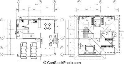 terv, épület, vektor