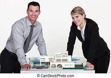 terv, együtt, építész, két, dolgozó