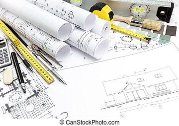 terv, munka, eszközök, építészeti