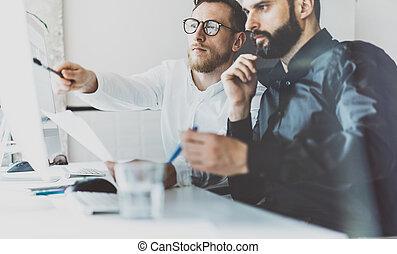 terv, munka, osztályvezető, presentation., dolgozó, eljárás, photo., életlen, modern, startup, legénység, office.desktop, effect., coworking, számítógép, idea.young, befog, asztal, új, horizontális, ügy