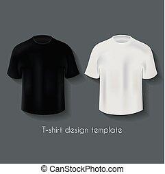 tervezés, állhatatos, hím, trikó, sablon