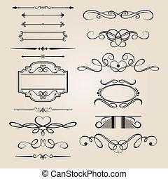 tervezés, állhatatos, vektor, határ, elem