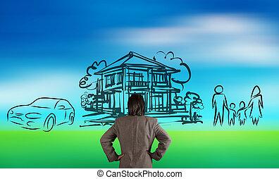 tervezés, bölcsész, család, természet, látszó, jövő, elhomályosít, üzletember