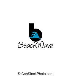 tervezés, b betű, levél, vektor, lenget, tengerpart, jel