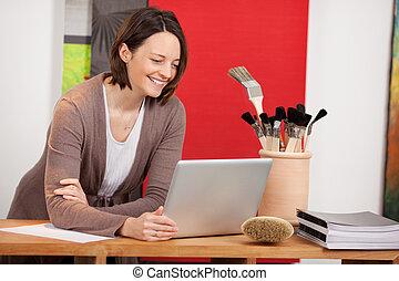tervezés, belső, laptop, nő, tervezés