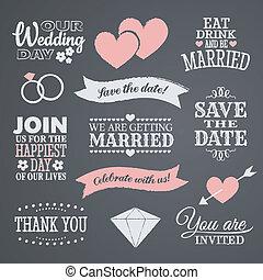 tervezés, chalkboard, esküvő