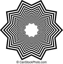 tervezés elem, series., rendellenes, elvont, radiális, elem, effects., alakít, különféle, fehér, körkörös, fekete, geometriai, elferdítés, style., kör alakú