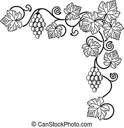 tervezés elem, szőlőtőke, szőlő