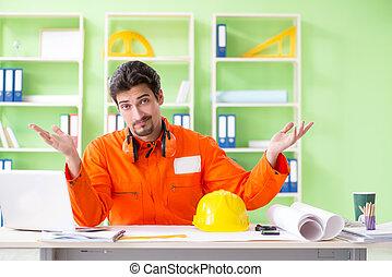 tervezés, ellenőr, hivatal, terv, szerkesztés, új