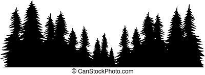 tervezés, erdő, vektor, táj, ábra