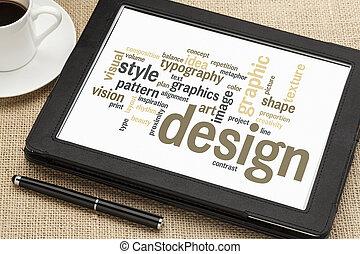 tervezés, grafikus, szó, felhő