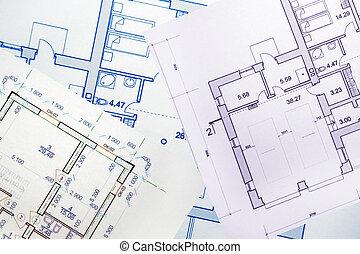 tervezés, helyett, egy, épület