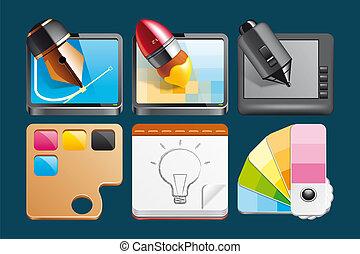 tervezés, ikonok, grafikus