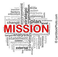 tervezés, kör alakú, szó, misszió, nappal