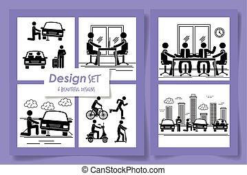 tervezés, körvonal, elfoglaltságok, hat, férfiak
