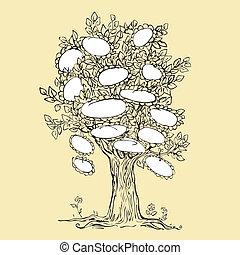 tervezés, keret, fa, üres, család