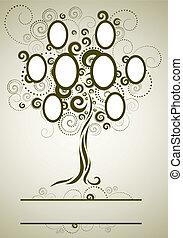 tervezés, keret, vektor, fa, család