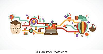 tervezés, kreatív, gondolat, és, újítás, infographic