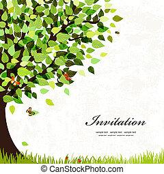 tervezés, levelezőlap, noha, egy, fa