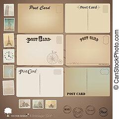 tervezés, levelezőlap, szüret, vektor, stamps., set: