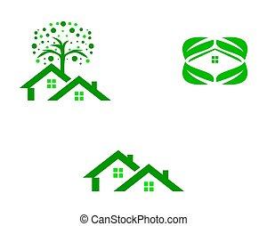 tervezés, sablon, zöld, állhatatos, jel, épület