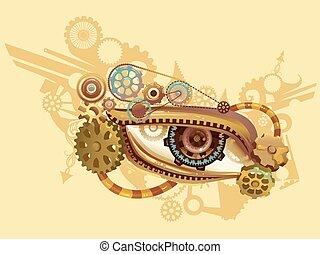 tervezés, szem, steampunk